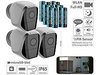 VisorTech 3er-Set Full-HD-IP-Überwachungskameras, 12 Monate Stand-by, 12 Akkus